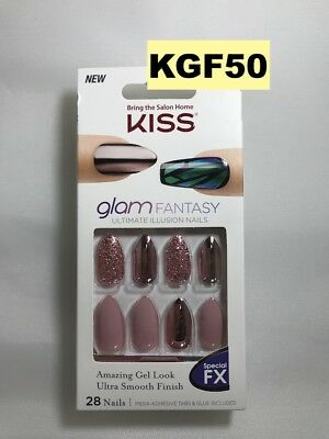 Kiss Glam Fantasy Ultimate Illusion Nails Special Fx Kgf50 Glue Included 28 Nail