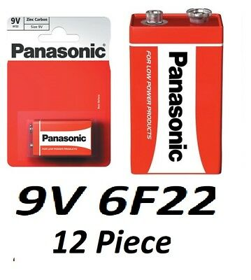12x 1-PACK Panasonic 9V Heavy Duty Zinc Carbon Batteries 6F22 400-maH 1640D