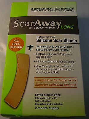 """Scaraway Flex Long Silicone Scar Sheets 1.5"""" x 7""""  6 counts NEW Exp 2020"""