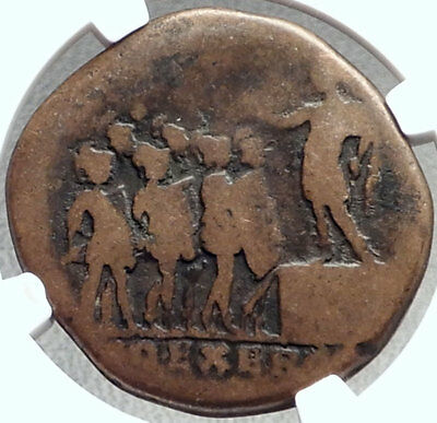 COMMODUS Address to SOLDIER RARE PossiblyUnique Sestertius Roman Coin NGC i68718