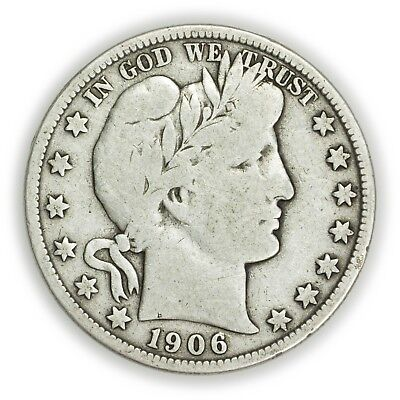 1906-S Barber Half Dollar, Large, Early Type Silver Coin [3649.13]