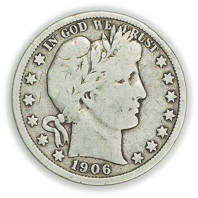 1906-D Barber Half Dollar, Large, Early Type Silver Coin [3649.19]
