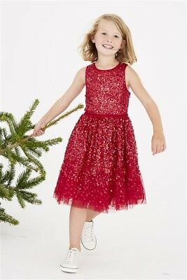 NEXT Girls Stunning Red Sequin Embelished Dress SIZE-16 Years