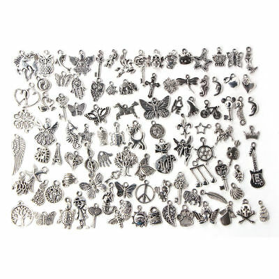 Wholesale 100pcs Bulk Lots Tibetan Silver Mix Charm Pendants Jewelry DIY Finding