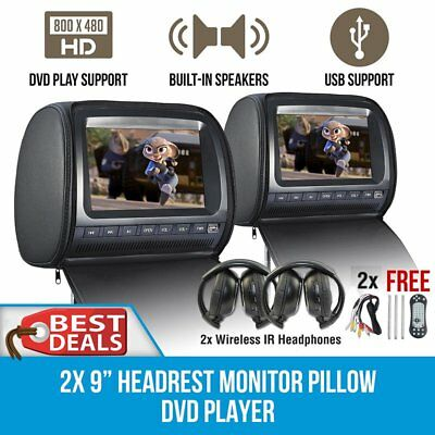 "Headrest 2 X 9"" HD Remote Car Monitor Pillow 2 DVD Player GAME HEADPHONES"