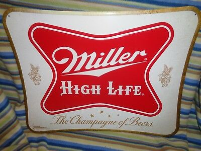 MILLER HIGH LIFE TIN METAL SIGN 20 X 16 - Brand New! THE CHAMPAGNE OF BEERS