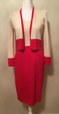 Vintage St John By Marie Gray Dress Suit Santana Knit Red And Cream