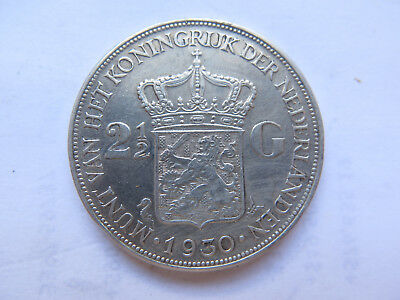 1930 Netherlands Holland 2 1/2 Silver Gulden Very Nice Collectable Condition