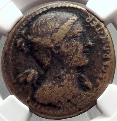 JULIUS CAESAR 46BC Rome Authentic Ancient Roman Dupondius Coin NGC VF i68733