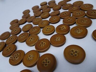 Vintage Round Faux Copper 2-Hole Button with Raised Edge 20mm Lot of 10 B63-6