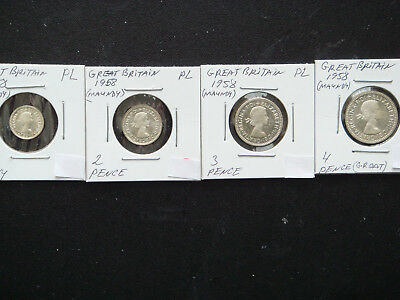 1958 GREAT BRITAIN Silver Maundy Money Set in UNC. PL Condition.