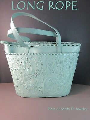 e82954746 Guadalajara Mexican~Hand Tooled~Light Teal Mint~Western Style Leather Purse