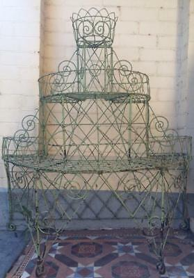Very Rare Pair Of Original Victorian Wire Plant Stands With Original Colour