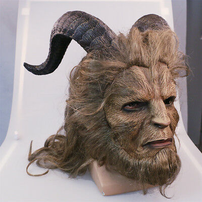 2018 Beauty And The Beast Mask Cosplay Prince Mask Horror Beast Long Hair Mask