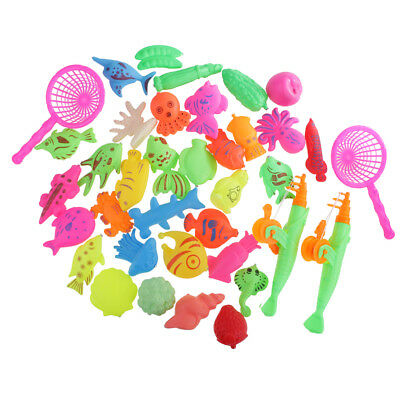 MagiDeal 38Pcs Magnetic Fishing Toy Rod Model Net Fish Baby Bath Water Toys