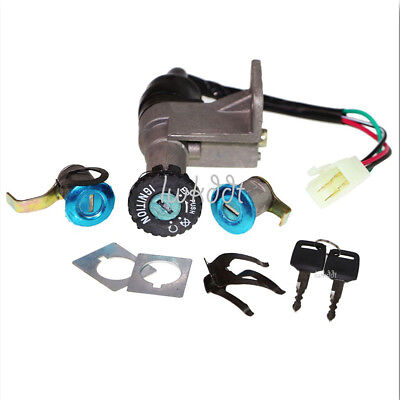 KEY IGNITION SWITCH Set 4 Wire Gy6 50cc - 150cc Scooter ATV Moped ...