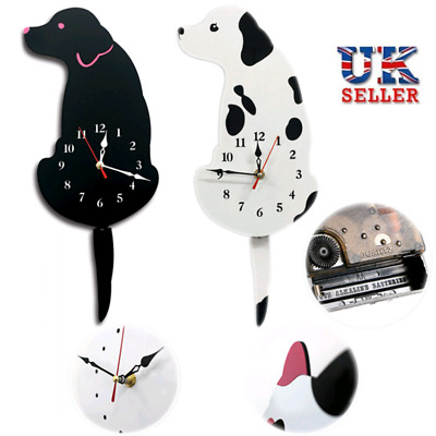Dog Swinging Tail Pendulum Wall Clock Creative Battery Operated Home Decor UK