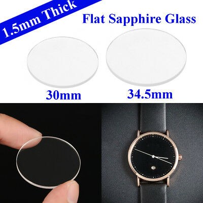 AU 1.5mm Thick 30mm/34.5mm Clear Flat Sapphire Glass Watch Crystal Replacement .