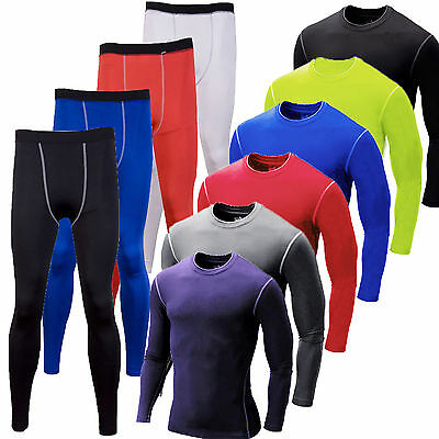 Men's Compression Thermal Base Layer Tights T-Shirt Top Long Pants Sports GYM