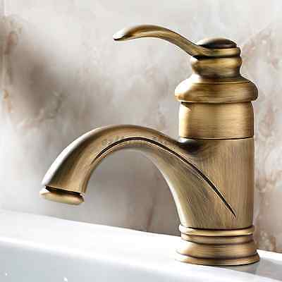 Antique Brass Vintage Single Lever One Hole Bathroom Basin Faucet Sink Mixer Tap