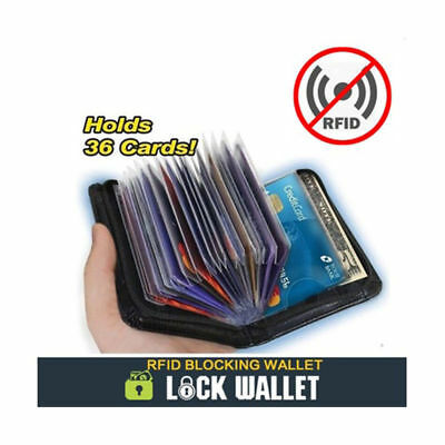 Lock Wallet Mens Slim RFID Blocking Zip 36 Credit Bank ID Business Card Holder