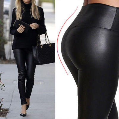 Womens Ladies Pvc Leather Pu Leggings Wet Look Stretch Trousers Pants*Hig_wst