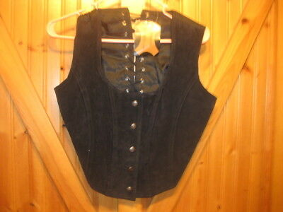 NWT Leather Black Full Lace Back small  Crop Top Vest Size snap front NEW