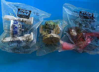 3 Star Wars Cups Topper R2D2 / Yoda / Queen Amidala KFC/Pizza Hut/Taco Bell 1999