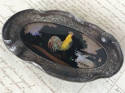 Gorgeous ART NOUVEAU Hammered Chased Steel Painted Glass Base Pin Jewellery Tray