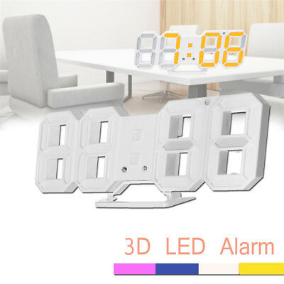 Modern USB LED 3D Digital Wall Clock Alarm Clocks Snooze 24 or 12 Hour Display