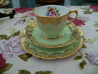 Vintage Collingwood's English China Trio Tea Cup Saucer Green Gilded Floral 406
