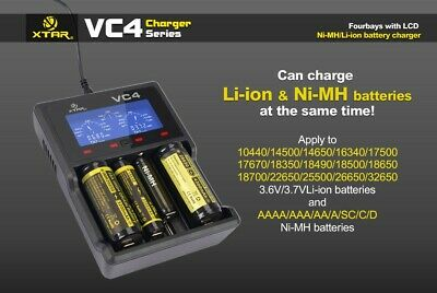 Xtar VC4 - Charger for Li-Ion 3,6V - 3,7V and Nimh Batteries with USB Cable