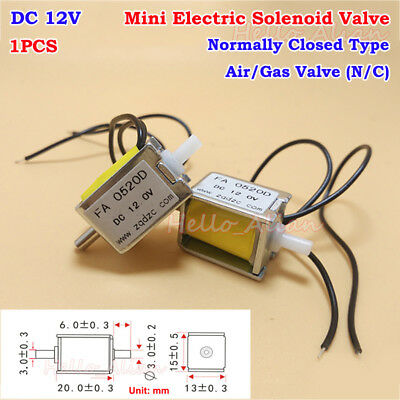 DC 12V Small Electric Solenoid Valve N/C Normally Closed Mini Gas Air Valve DIY
