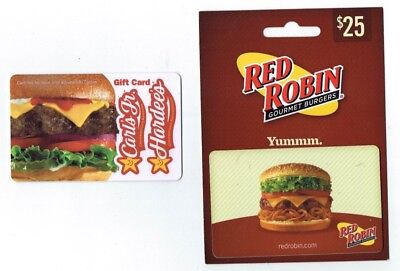RED ROBIN / CARL'S Jr HARDEE'S Collectible Gift Card Lot of 2 Cards - No $ Value