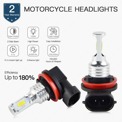 2x H9 100W LED Motorcycle ATV Headlight Bulb High Beam Lamp Pure White 1500LM