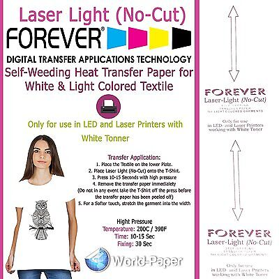 "Forever Laser Light No-Cut Heat Transfer Paper 10 Sheets - 8.5"" x 11"""