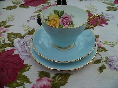 Lovely Edwardian China Trio Tea Cup Saucer Plate Sky Blue Harlequin Roses