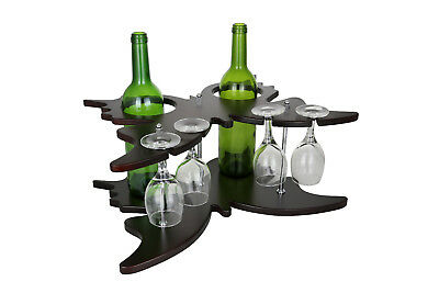 Wine Bodies Wooden Holder Display 1 Bottle Tabletop Wine Glass Rack