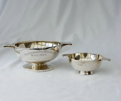 2 Vintage Sterling Silver Polo Trophy Quaiches From 1930s. Combined Weight 111gm