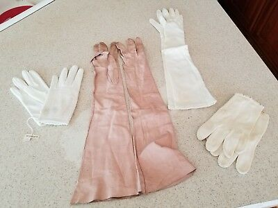 Lot of 4 vtg women kid gloves Kislav kid, Western Germany, Hong Kong British