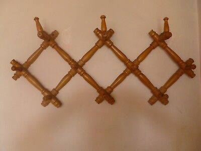 Antique folding wooden wall  coat hat rack hanging hanger