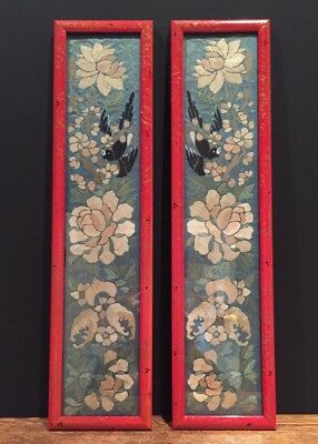 Antique Chinoiserie Silk Embroidery Framed Panels Textiles Vintage Asian Chinese