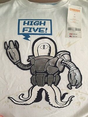 NWT 7 Gymboree SPACE VOYAGER robot High Five white  SHIRT TOP faux double sleeve