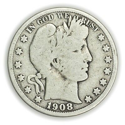 1908-D Barber Half Dollar, Large, Early Type Silver Coin [3653.05]