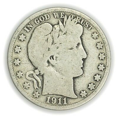 1911-S Barber Half Dollar, Large, Early Type Silver Coin [3653.03]