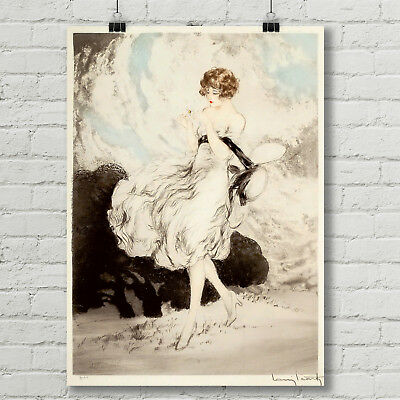 Lady Roses Flowers Art Deco French Luis Icart 16x20 Vintage