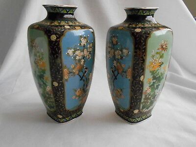Beautiful Pair Japanese 4 Panel Cloisonne Silver Wire 6 Vases
