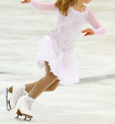 White Ice Skating Dress with AB Crystals: Lace Covered Bodice