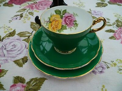 Lovely Edwardian China Trio Tea Cup Saucer Dark Green Harlequin Roses