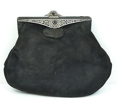 Antique French Art Deco hallmarked sterling silver suede evening bag beautiful